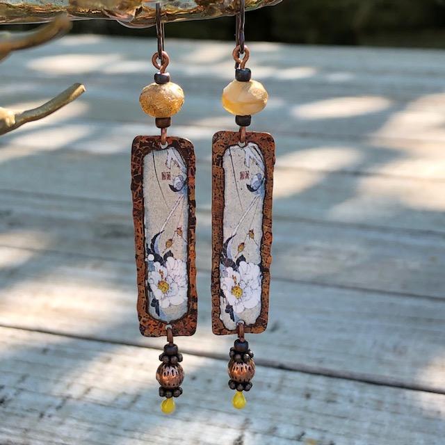 bijou-boucles d'oreilles-anemones-emaux-1